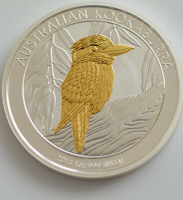 2014 1oz .999 silver australian kookaburra gold gilded (Mint Condition)