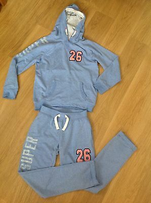 NEXT Girls Light Blue Tracksuit Joggers & Hoddie Top Size Age 10-11 Years