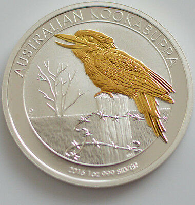 2016 1oz .999 silver australian kookaburra gold gilded (Mint Condition)
