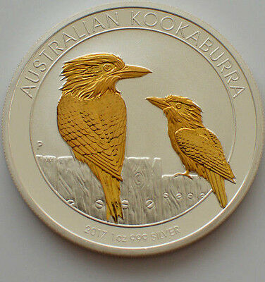 2017 1oz .999 silver australian kookaburra gold gilded (Mint Condition)