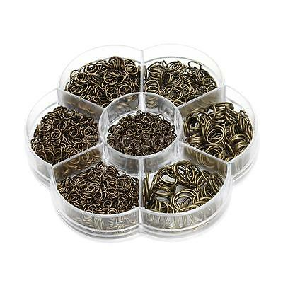 1 Box Mixed Size Iron Plated Open Jump Rings Jewelry Making Link Loop Bronze