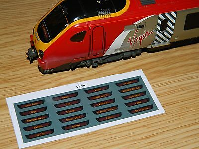 Destination displays for Bachmann Class 220 221 Virgin Voyager DMU trains WCML