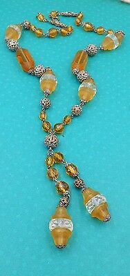 San Francisco lovely old victorian brass and glass necklace