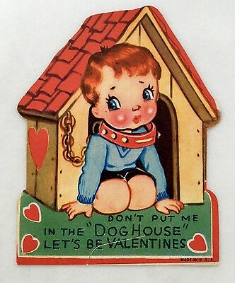 Cute Little Boy Collar & Chain In The Dog House Vintage Valentines Day Card