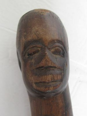 Vintage Hand Carved Wood Folk Art Walking Stick / Cane African Man's Head