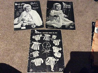 Vintage Patons 123 + 249 + 357 Baby Knitting Pattern Books Layettes Dresses Hats