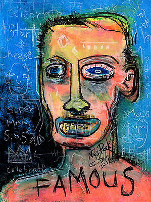 """NEZ PEEK Original Drawing """"FAMOUS"""" outsider ABSTRACT ART dada EXPRESSIONIST"""