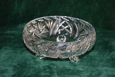 Pin Wheel Cut glass  Crystal 3 footed bowl
