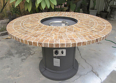 """New 48"""" Porcelain Mosaic Tile Fire Pit Fireplace Outdoor Dining Table Propane"""