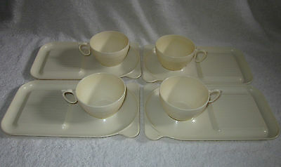 VINTAGE 1950'S 4 x B E F PLASTIC CUPS AND PLATES ( VW CAMPER) CARAVANNING