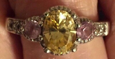 14k White Gold Engagement Ring Sz 8 Pink & Yellow Simulated Diamond