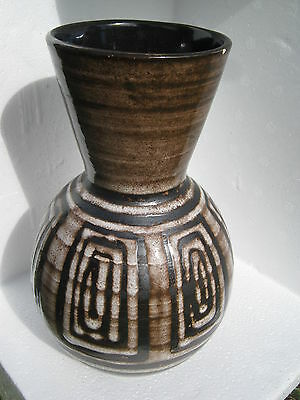 VINTAGE CINQUE PORTS POTTERY MONASTERY RYE 1970's LARGE BROWN/WHITE VASE