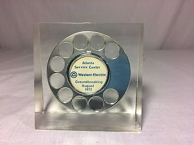 Western Electric Bell Telephone Lucite Display Paperweight ATL Service Center