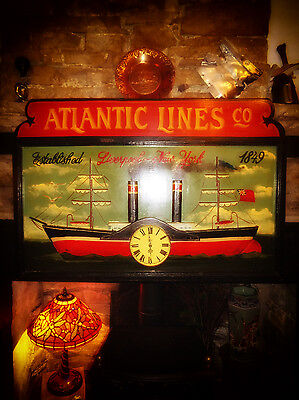 Vintage Painted ATLANTIC LINES SIGN & CLOCK Liverpool-New York Steamer Cafe/Bar