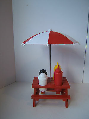 Mini Red Picnic Table Condiment Holder with Umbrella Salt Pepper Ketchup Mustard