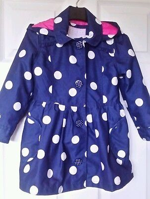 Girls Gorgeous Nutmeg Coat with Hood Navy and White Spots Age 4 - 5