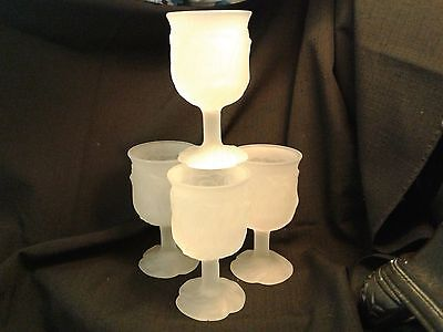 20% OFF 4 Avon FROSTED Wine glasses RARE flower pattern More avail. Estate  #1