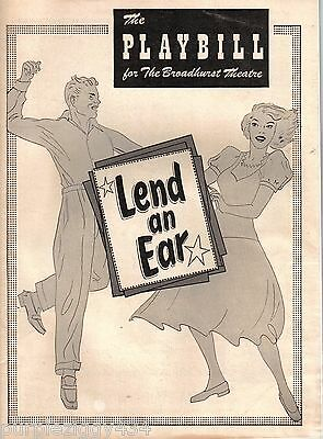 Vintage Playbill for theBroadhurst Theatre ~Lend an Ear ~1949  ~ Great Ads