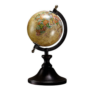 Vintage 14cm Desktop Rotating Geography World Map Globe W/ Brown Wood Stand Base