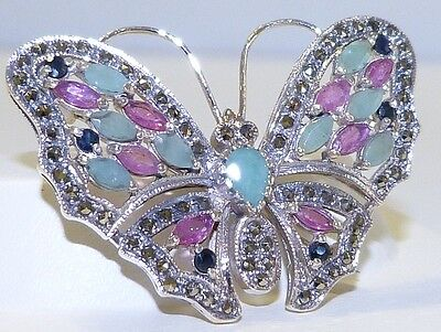 GENUINE 3.58tcw Sapphire, Ruby, Emerald, Marcasite Butterfly Brooch S/Silver 925