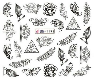 Nail Art Stickers Water Decals Black Outline Butterflies Roses (BN1192)