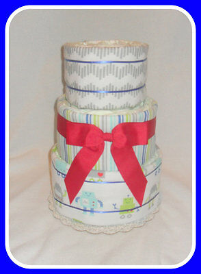 Diaper Cake-Incredible Baby Boy Monster Themed -Gorgeous Centerpiece