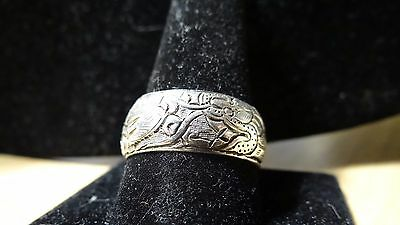 Rare  Sterling Silver Chinese  Dragon Etched Band Ring sz 11