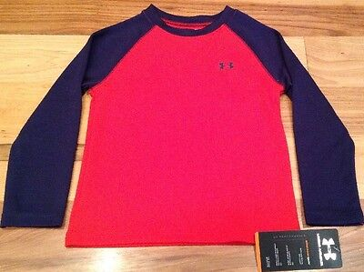 Under Armour Boys 3T Red And Navy Blue Shirt. Nwt