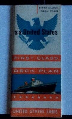 United States Lines - ss United States - First Class Deck Plan - 1950s Or 60s