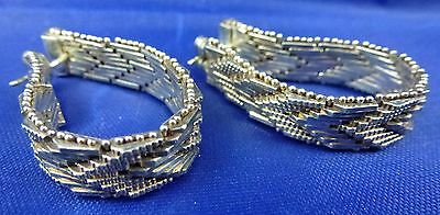 Vintage Mexican Sterling Woven Chevron Mesh Earrings, 20g