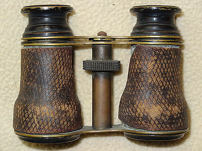 Vintage Antique Leather Covered Opera Glasses Binoculars - Unmarked