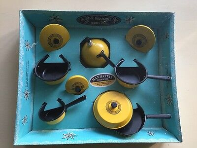 Like Mother's Mirro Minatures Manhattan Cookware Harvest Gold Pots and Pans