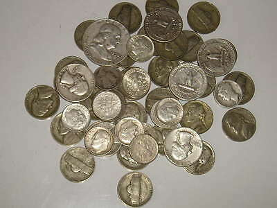 1/2 lb (8oz) Old US Silver Coins all Pre-1965 Nice Mix 1940's-1964 Read Listing