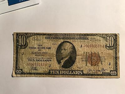 1929 $10 National Currency FRBN Of Kansas City G/VG
