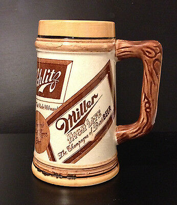 "Beer Stein 5"" Tall Featuring Miller, Schlitz, Gunther, Schaefer Beers"