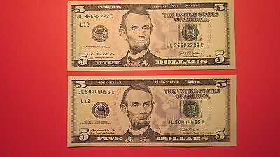 Two $5 Bills Repeater 2009 5 Dollars Fancy Us Note Very Rare And Nice