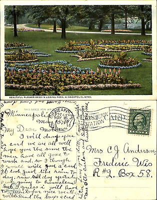 Flower beds in Loing Park Minneapolis Minnesota MN mailed 1916