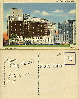 Hotel Lowry Kenneth Wright photo St Paul Minnesota MN linen dated 1953