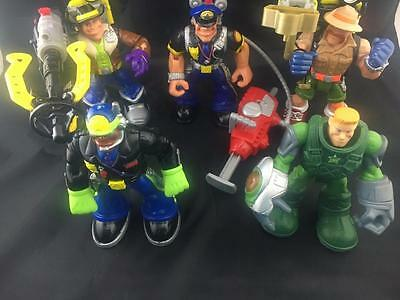 """(5) Fisher Price Mattel 6"""" Rescue Heroes 3 with weapons"""