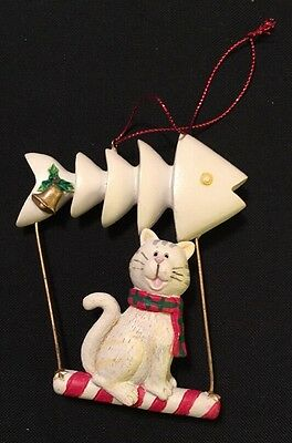 Vintage Kitty Cat Kitten on Candy Came Swing with Fish Bone Christmas Ornament