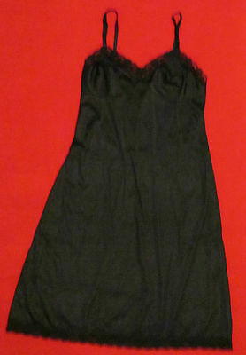 LORRAINE - Black Lace Trimmed Full Slip - SIZE 34 – 28 Inches Long