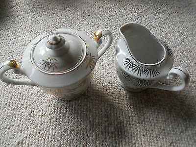 EAC Hand Painted Sugar Pot And Creamer Made In Japan