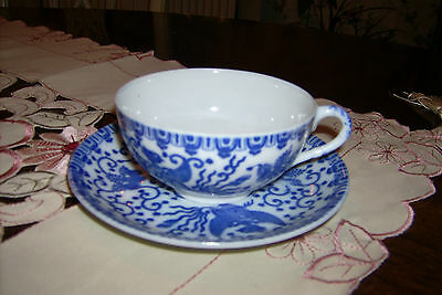 Vintage Occupied Japan China Blue & White Winged Dragon Cup & Saucer