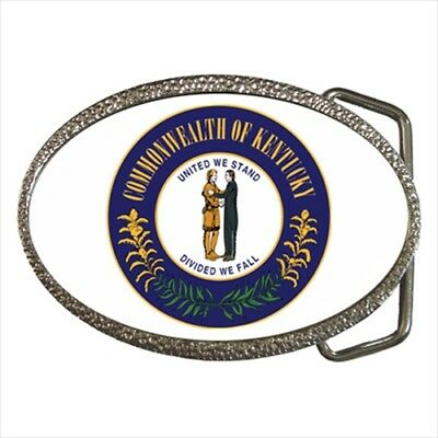 Seal of Kentucky USA Chrome Finished Belt Buckle - United States