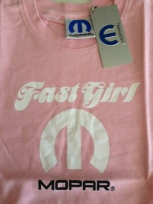 Mopar Fast Girl Childrens Light Pink T-Shirt ptd front, Brand New Size: 2 - 16