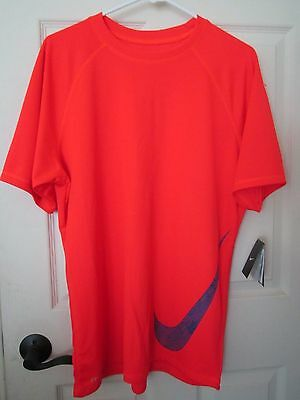 Nike Dri-Fit  UV Block T-Shirt Bright Crimson Size L Big Swoosh SS  Run Swim NWT