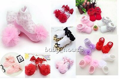Newborn baby girls cotton socks princess lace flower baby socks floor socks