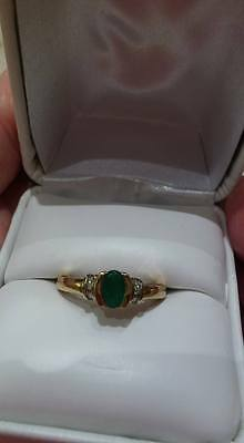 Emerald & Diamond Ring 10K solid Gold,  size 7.25