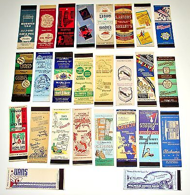 26 1930-50s Antique Matchbook Covers RESTAURANT Cafe Bar Grill Night Club Shop