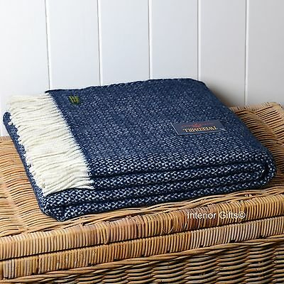 PURE NEW WOOL NAVY BLUE THROW British Quality Blanket Sofa Bed Rug ASCOT Gift